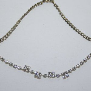 Beautiful silver tone rhinestone anklet bracelet